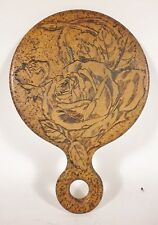 Antique Flemish  PYROGRAPHY Roses Wooden Folk Art Victorian HAND MIRROR Blank
