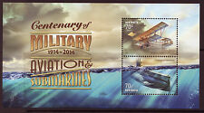 AUSTRALIA 2014 MILITARY AVIATION AND SUBMARINES UNMOUNTED MINT MINIATURE SHEET