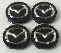 *NEW* 4pcs 56mm MAZDA Black Wheel Logo Emblem Badge Hub Caps Rim Caps