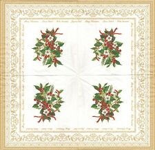 2 Serviettes papier Bouquet de Noël Houx Decoupage Paper Napkins Christmas Holly