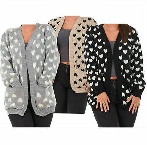 Womens Ladies Heart Knitted Cardigan Pockets Long Sleeve Regular Big Sizes 8-22