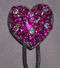 Heart Rhinestones U-Shaped Hair Pin Stick Hairpin Chignon Silver Tone, Ship Fast