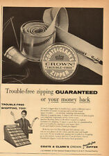 1950's Vintage ad for COATS & CLARK'S Crown Zipper`Sewing (031414)