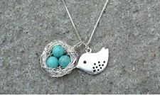 Handmade Bird Nest Necklace Turquoise Eggs Easter Eggs with Gift Box US Seller