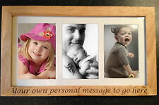 PERSONALISED ENGRAVED WOODEN PICTURE FRAME FOR BABY YOUR MESSAGE HOLDS 3 PICS