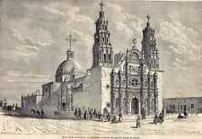 Antique print church Chihuahua Chiwawa Mexico 1861