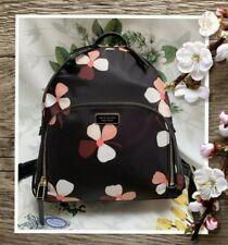 NWT KATE SPADE DAWN DUSK BUDS Medium Backpack In BLACK MULTI Floral Print