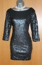 ZARA Black Sequins Open Back 3/4 Sleeves Cocktail Prom Party Mini Dress SMALL