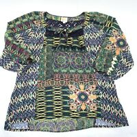 Fig and Flower, Anthropologie Boho green paisley floral Tunic Blouse Large Lace
