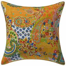Decorative Cotton Patio Cushions Yellow Kantha Printed Paisley Pillow Covers