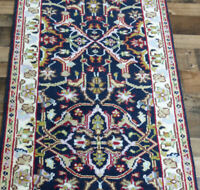 """2'7""""x8' New Fine quality Hand knotted Wool Super Mahal Blue Oriental rug runner"""