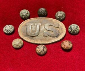 High Quality Dug Civil War US Cartridge Box Plate Buckle Relic Eagle Buttons VA