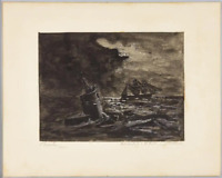 World War I WWI Imperial German Navy U-Boat Submarine Attacking 1920 Painting