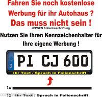 Kennzeichen Aufkleber Set - 1x Text + 1 Abdeck-Streifen für Kennzeichenhalter