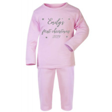 Personalised Names First Christmas Glitter Pyjamas Baby Gifts Pjs Xmas 2019