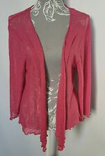 Ladies Isle Cardigan UK 22/24 Pink Bolere Diamond Crochet Fine Knit Front Tied