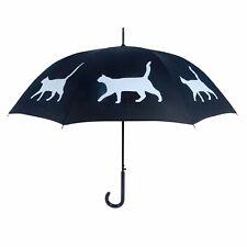 Cat White on Black Auto Open Premium Quality Stick Umbrella
