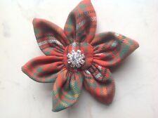 Hay Ancient Tartan Flower Diamante Brooch/Corsage-Hogmanay,Burns Night