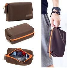 Mens Brown Toiletry Travel Wash Shower Bag Organizer Kit Case Handy Size S #139