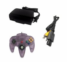 AC Adapter + Atomic Purple Controller + AV Cable Cord Bundle for Nintendo 64 N64