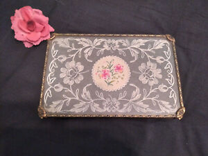 VINTAGE DRESSING TABLE VANITY TRAY ~ HAND EMBROIDERED PETIT POINT FLOWERS & LACE