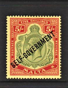 MALTA. 1922. GV 5/- GREEN & RED DEFIN Optd SELF-GOVERNMENT. MCCA. LMM. Sg.113