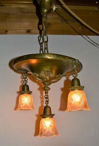 Bold 3 Lamp Art Nouveau Antique Brass Pan Style Ceiling Fixture Cut Glass Shades