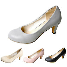 Womens high heels Leather Pumps Court Classic Ladies Mid heel Office Shoes Size