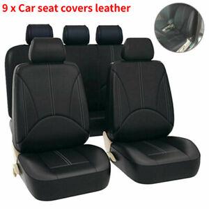 Universal Car Seat Covers Leather Waterproof  Full Set Black Heavy Duty Look UK