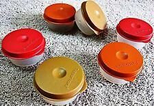 Tupperware -SMIDGETS 30ml MINI containers WHITE BASE MULTICOLOUR LID very useful