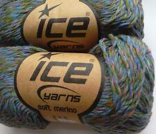 6 x 50 g Fine Merino Yarn. Green/Lilac/Copper. Knit/Crochet/Weave