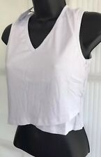 NEW GLAMOROUS M 12 white rib jersey sleeveless crop vest cami party top V neck