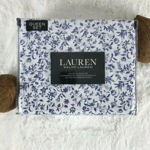 Lauren RALPH LAUREN 100% Cotton Artistic Blue Sketch Floral QUEEN Sheet Set NEW