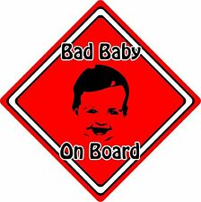 Bad Baby/Child On Board Car Sign ~ Baby Face Silhouette ~ Neon Red
