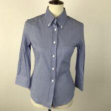Band of Outsiders Boy Blue Plaid Seersucker Button Front Shirt Top Blouse Sz 1