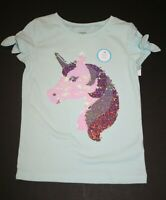 New Carter's Girls Top 5 6X 7 14 year Sequin Unicorn Face Mint Top Bow Sleeves