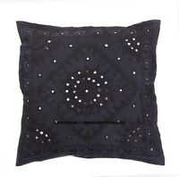 Ethnic Indian Black Embroidery Mirror Work Throw Pillow Cushion Cover Home Decor