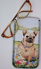 FRENCH BULLDOG FAWN DOG DESIGN GLASSES CASE POUCH SANDRA COEN ARTIST PRINT