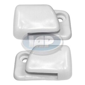 VW Sun Visor Clips. Pair White. BUG GHIA TYPE 1, 68 and Up AC867220 Left & Right