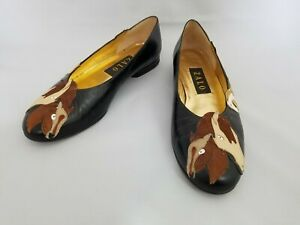 Zalo *Size 7* Black & Brown Horse Design Shoes Ballet Flats * Made In Spain