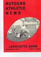 Lafayette vs Rutgers Athletic News Football Program November  6,1948 Vintage Ads