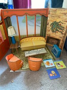 1960's Cardboard Barbie Dream House With Furniture Pieces 100% COMPLETE AS IS