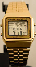 Casio A-500WGA-9D World Time 5 Alarms Watch Gold Tn LED Backlight Steel Band New