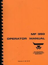 Massey Ferguson MF350 Industrial Crawler Excavator Operator Instruction Manual