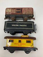 Marx Train O Gauge Tin Union Pacific Cattle Car Caboose Sliding Doors Lot 3 Z7