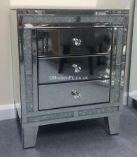 2x MIRRORED AND CRUSHED CRYSTAL BEDSIDE CHEST OF 3 DRAWERS , MIRRORED BEDROOM