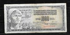 YUGOSLAVIA #92c 1978 VG USED OLD 1000 DINARA BANKNOTE PAPER MONEY   NOTE