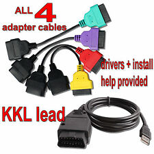ADAPTORS + KKL FIAT ALFA Airbag ABS CAN for FiatECUScan MultiECUScan