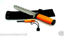 "11"" Orange Paracord Outdoor Hunting Knife with Fire Starter and Whistle Camping"