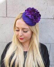 Purple Rose Flower Pillbox Hat Fascinator Races Headband Rockabilly 1950s 2368